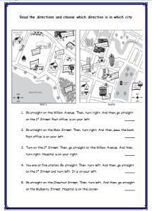 giving directions worksheets always english. Black Bedroom Furniture Sets. Home Design Ideas